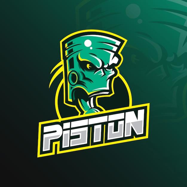 Piston mascotte-logo met moderne illustratiestijl voor afdrukken van insignes, embleem en t-shirts. Premium Vector