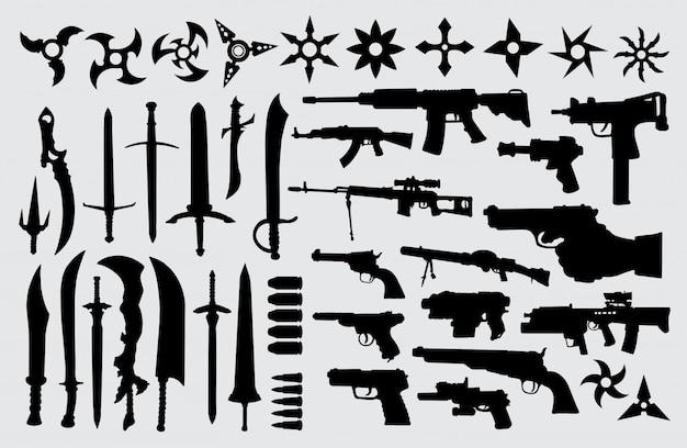 Pistool, pistool, zwaard en messensilhouet Premium Vector