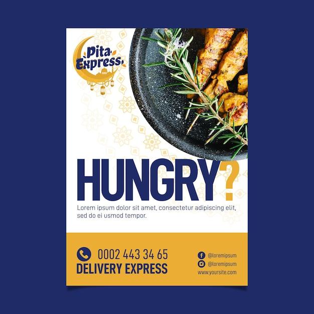 Pita express restaurant zo goed flyer-sjabloon Gratis Vector
