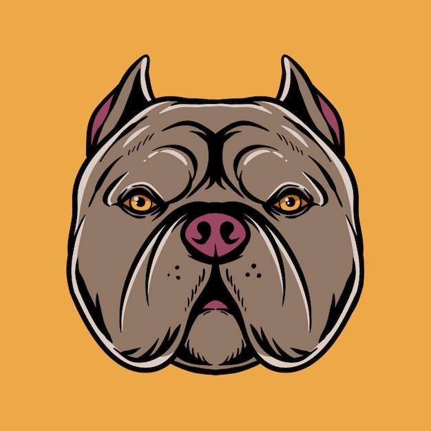 Pitbull hoofd illustratie Premium Vector