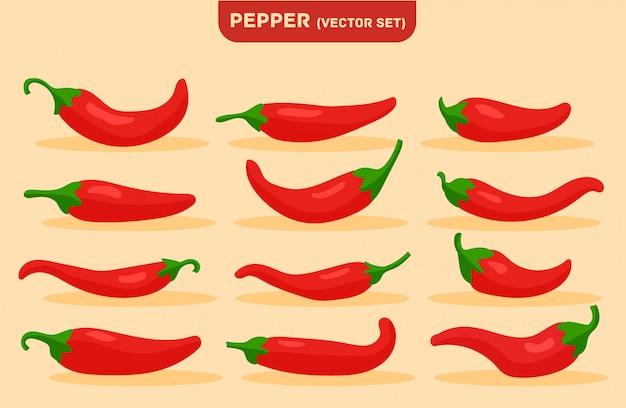 Pittig eten, milde en extra hete saus, rode peper. Premium Vector