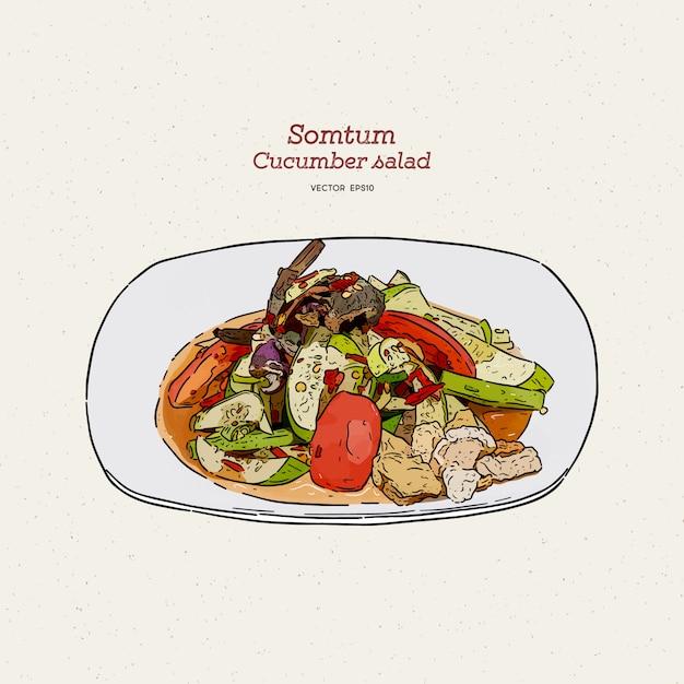 Pittige salade van somtum of komkommer, hand tekenen schets. Premium Vector