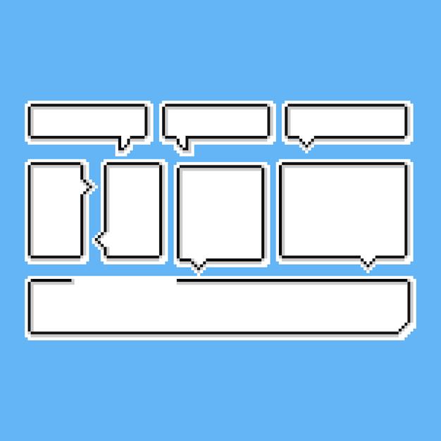Pixel art cartoon tekstballon set. 8bit. conversatie. Premium Vector