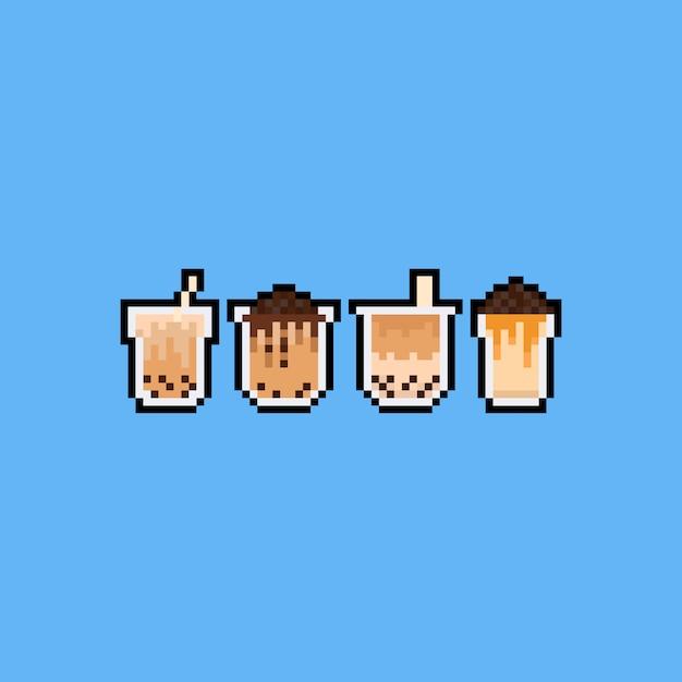Pixel art cartoon zeepbel melk thee pictogramserie. Premium Vector