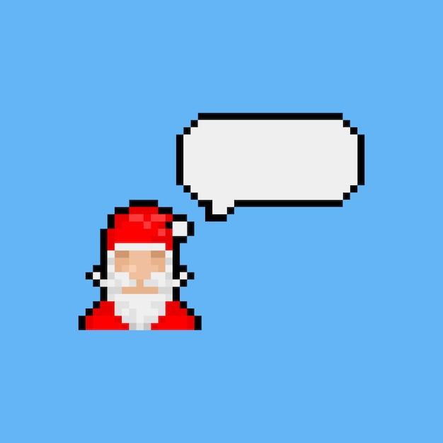 Pixel art kerstman pictogram met tekstballon. Premium Vector