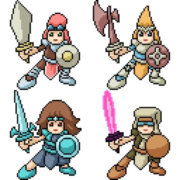Pixel art kid knight Premium Vector
