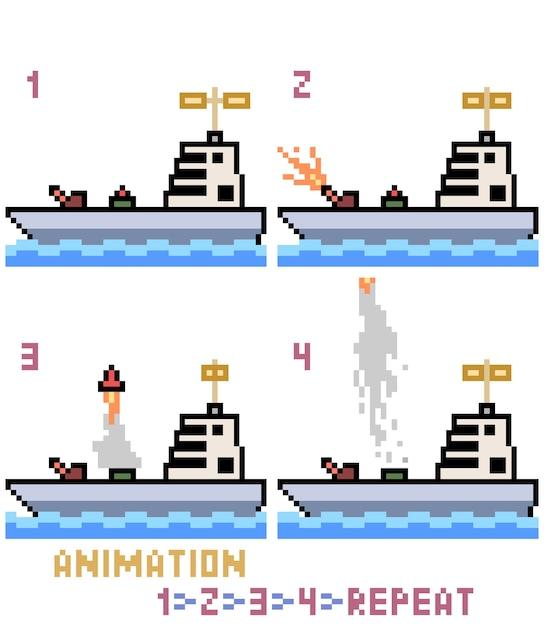 Pixel art oorlogsschip animatie Premium Vector