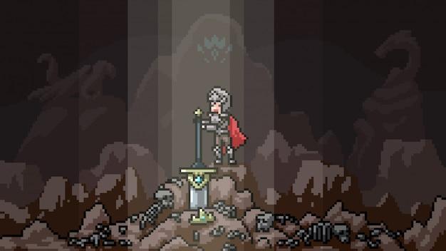 Pixel art scene legendarisch zwaard Premium Vector