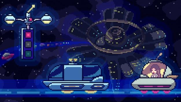 Pixel art scene ruimtestation verkeer Premium Vector
