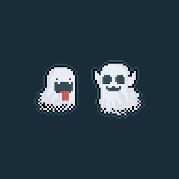 Pixel art schattige spook personages met gloeiend licht Premium Vector