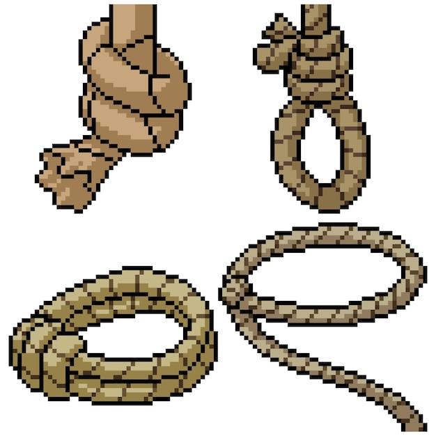 Pixel art set geïsoleerd cowboy touw Premium Vector