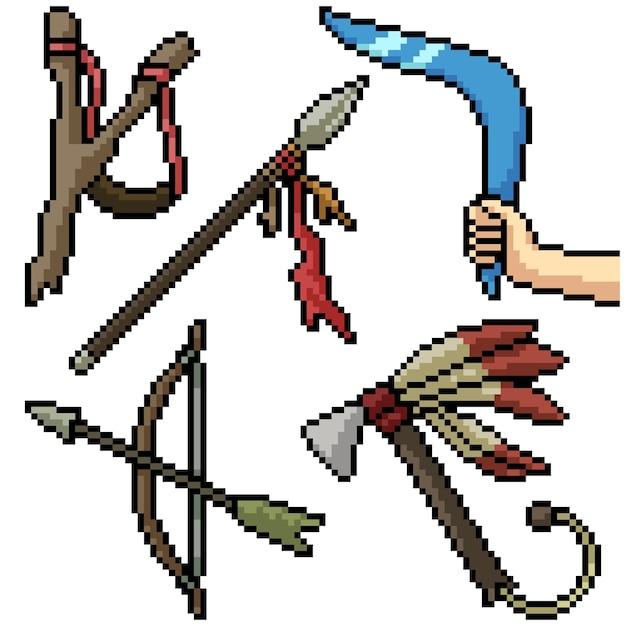 Pixel art set geïsoleerd oud wapen Premium Vector