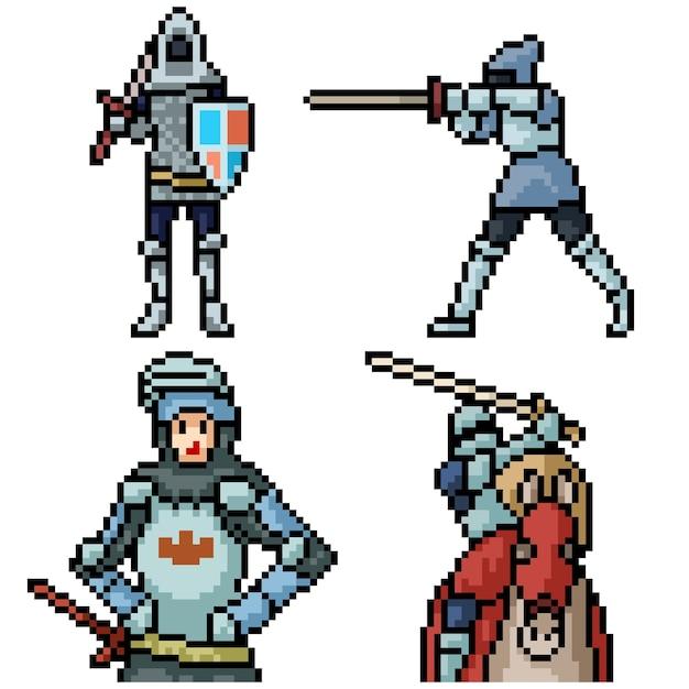 Pixel art set geïsoleerde middeleeuwse ridder Premium Vector