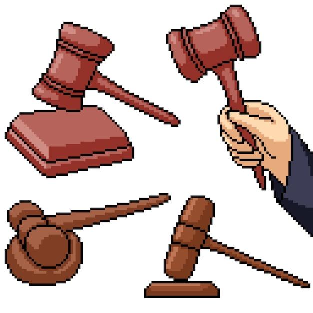 Pixel art set geïsoleerde rechter hamer Premium Vector