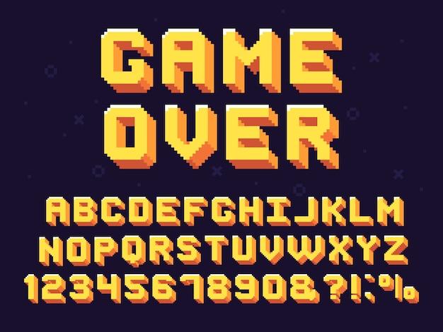 Pixel game lettertype. retro games tekst, 90s gaming alfabet en 8 bit computer grafische letters set Premium Vector