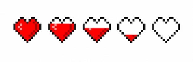 Pixel game life bar. gaming controller, symbolen ingesteld. Premium Vector