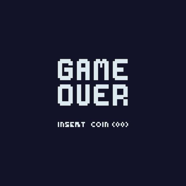 Pixel game-over met insert-munttekst Premium Vector