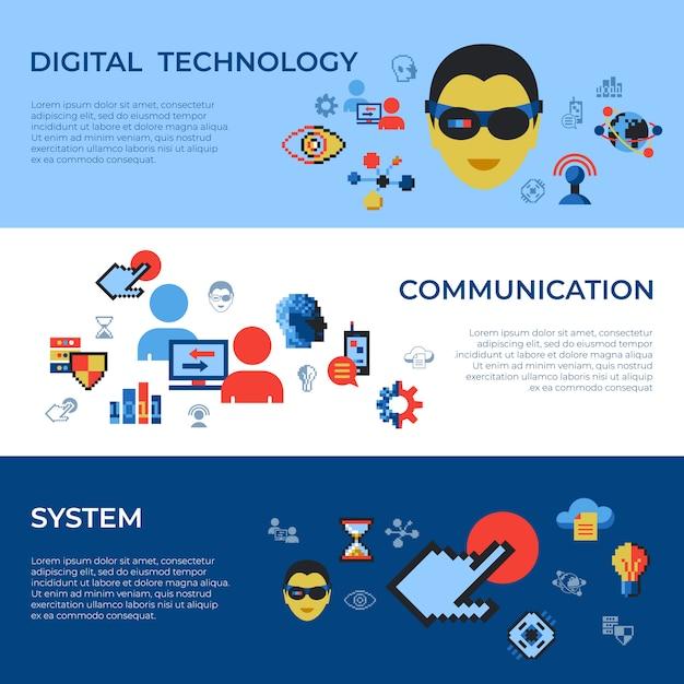 Pixel kunst digitale technologie en netwerk pictogrammen instellen Premium Vector