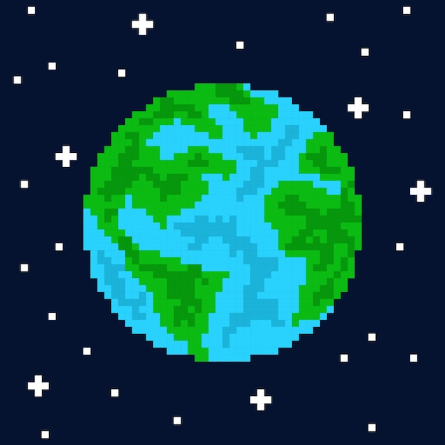 Pixel kunst planeet aarde Premium Vector