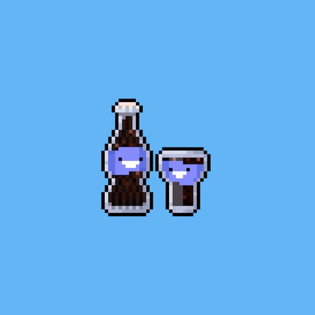 Pixel leuke cartoon colafles met glass.8bit. Premium Vector