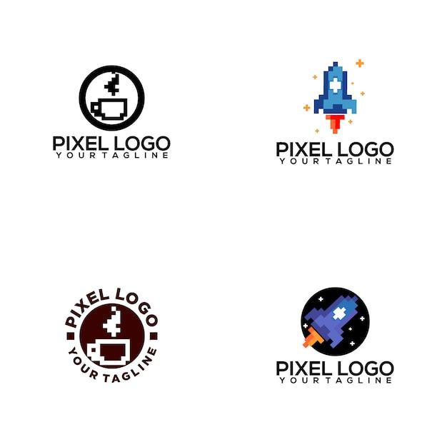 Pixel logo-collectie Premium Vector