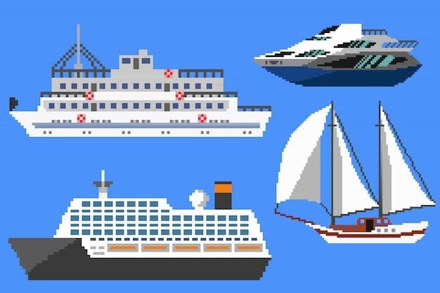 Pixel passagiersschepen en boten Premium Vector