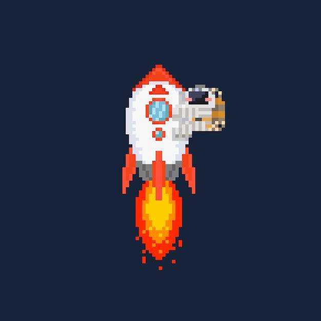 Pixel raket illustratie met astronaut erop. Premium Vector