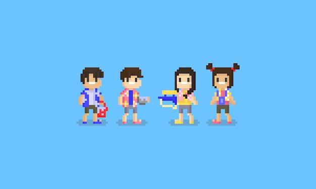 Pixel songkran-personage Premium Vector