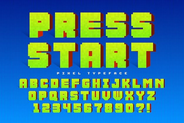 Pixel vector lettertype ontwerp, gestileerd zoals in 8-bit games Premium Vector