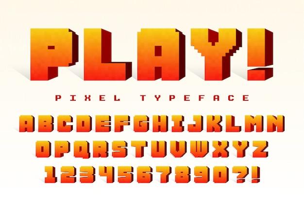 Pixel vector lettertype ontwerp Premium Vector
