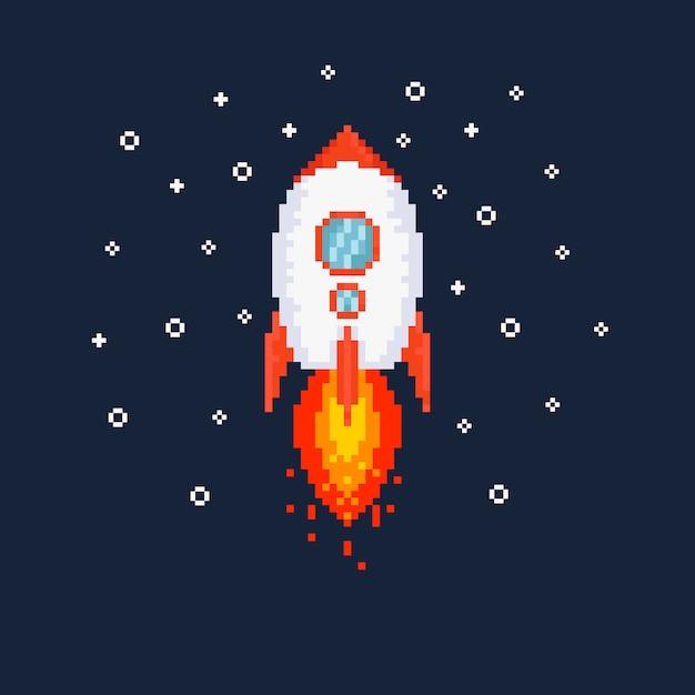 Pixel vliegende raket illustratie. Premium Vector