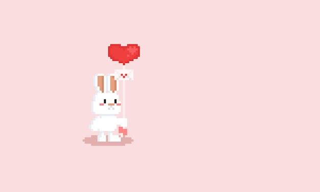 Pixel wit konijn Premium Vector