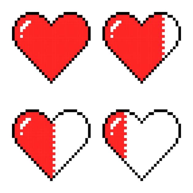 Pixelart harten voor spel, verschillende gezondheidsindicatoren voor games Premium Vector