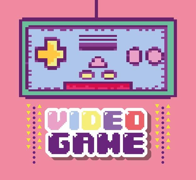 Pixelated retro gamepad-cartoon Premium Vector