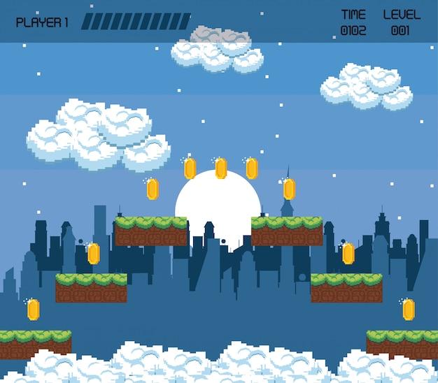 Pixelated stedelijk videogamelandschap Premium Vector