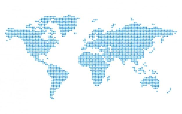 Pixelated wereldkaart met blauwe cirkel stippen Premium Vector