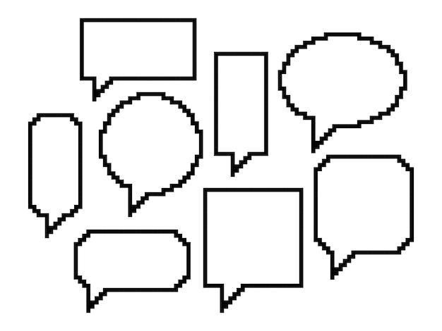 Pixelkunst, set van tekstballonnen Premium Vector