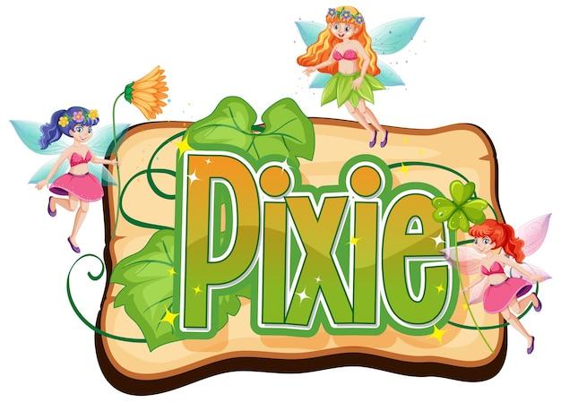 Pixie-logo met kleine feeën op wit Gratis Vector