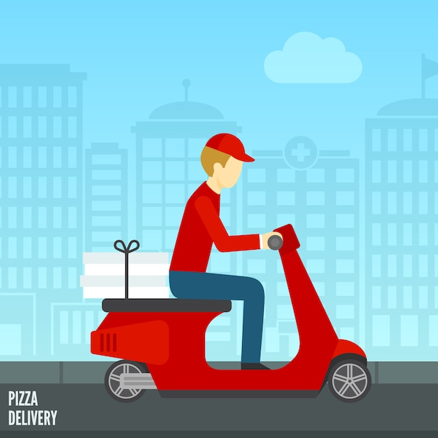 Pizza bezorg icoon Gratis Vector