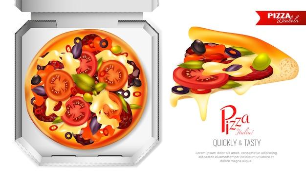 Pizza box-samenstelling Gratis Vector