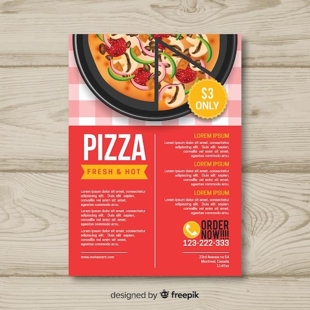 Pizza-brochuremalplaatje Gratis Vector