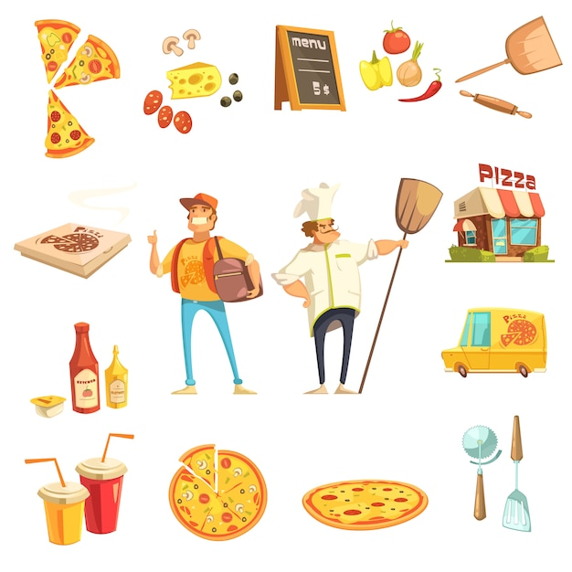 Pizza decoratieve pictogrammen instellen Gratis Vector