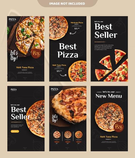 Pizza eten menu promotie sociale media instagram verhaal sjabloon voor spandoek Premium Vector