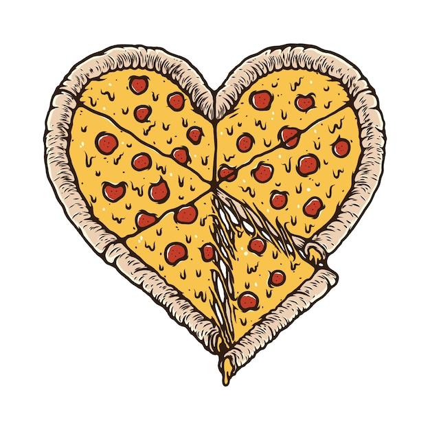 Pizza eten minnaar illustratie t-shirt Premium Vector