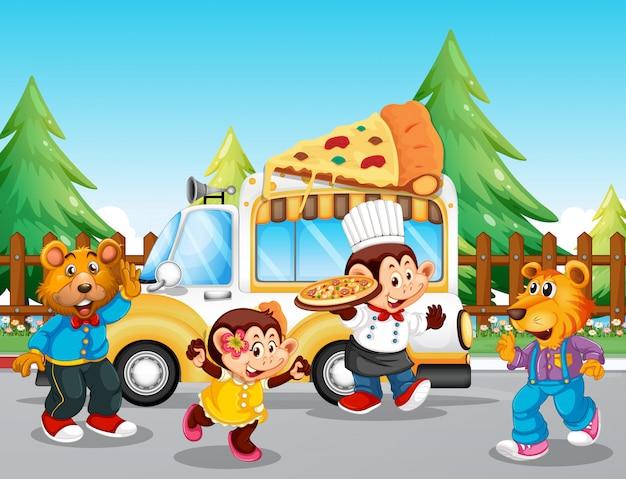 Pizza eten vrachtwagen in het park Gratis Vector