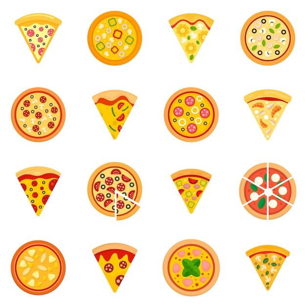 Pizza icon set Premium Vector