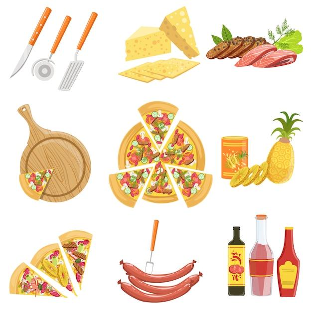Pizza-ingrediënten en kookgerei collectie Premium Vector