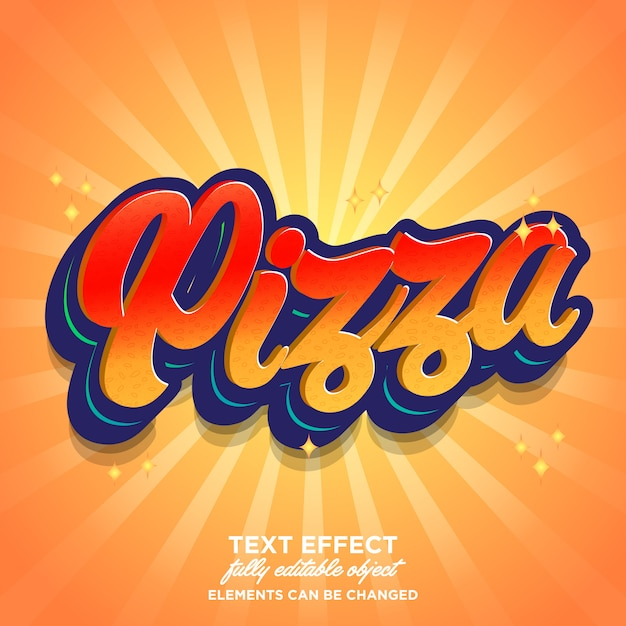Pizza lettertype-effect met hete kleurenthema Premium Vector