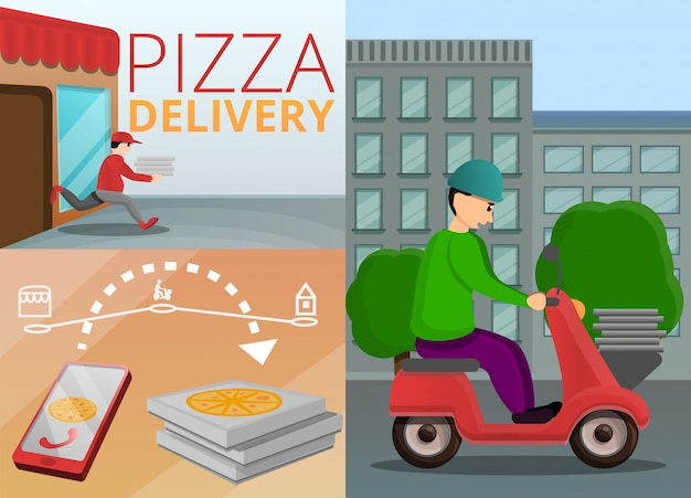 Pizza levering banner set, cartoon stijl Premium Vector