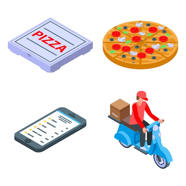 Pizza levering iconen set, isometrische stijl Premium Vector